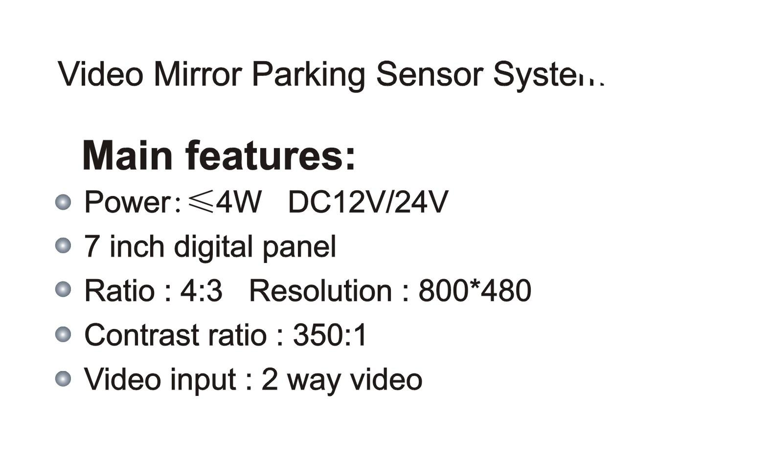 KC-6000M Video Mirror Parking Sensor System